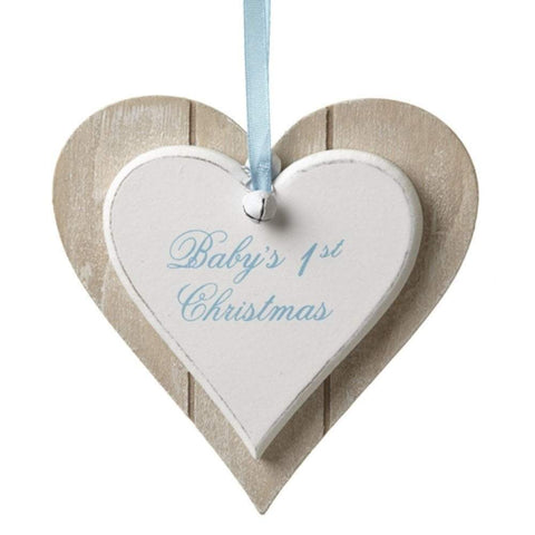 Heaven Sends Christmas Christmas Decorations Wooden Baby's First Christmas Decoration in Blue