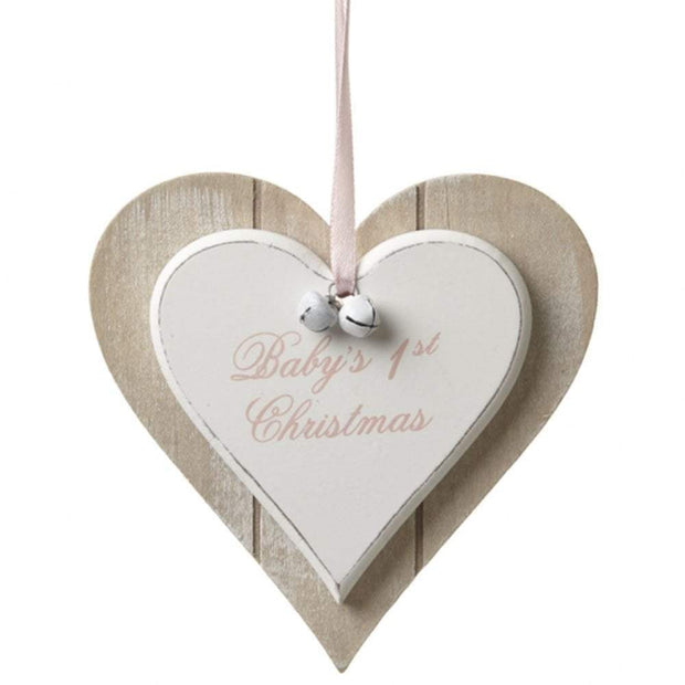 Heaven Sends Christmas Christmas Decorations Wooden Baby's First Christmas Decoration in Pink