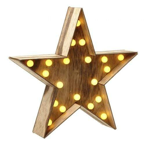 Heaven Sends Christmas Christmas Decorations Wooden Light Up Star Christmas Decoration