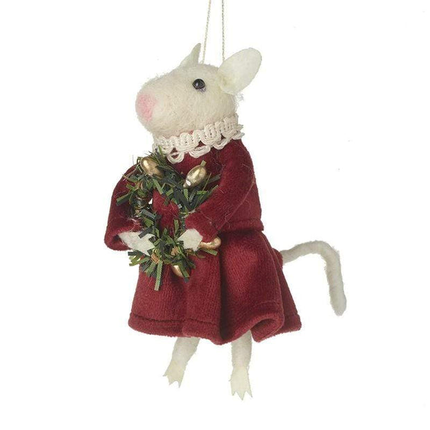 Heaven Sends Christmas Christmas Decorations Felt White Mouse In Dress Hanging Christmas Decoration