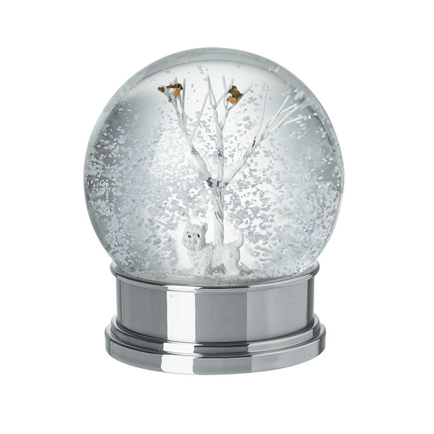 Heaven Sends Christmas Snow Globes, Christmas Decorations White Scottie Dog Christmas Snow Globe
