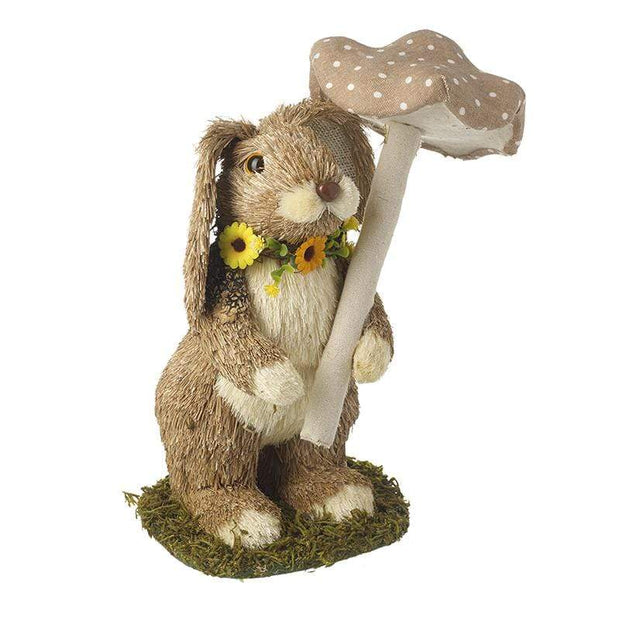 Heaven Sends Standing Bristle Rabbit with Toadstool Easter Decoration