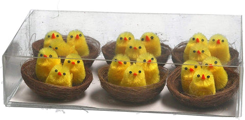 Mollie and Fred Gifts Chenille Chicks In Twig Nests