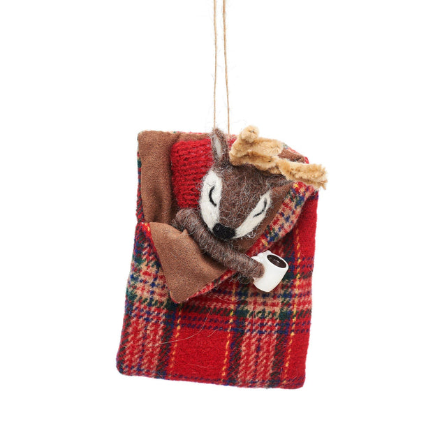 Mollie and Fred Gifts Felt Deer in Sleeping Bag Christmas Decoration