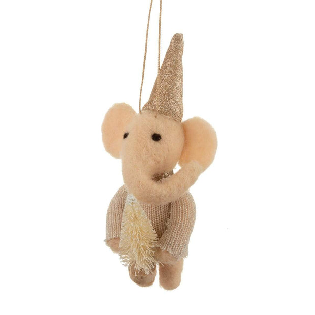 Mollie and Fred Gifts Felt Elephant with Tree Hanging Christmas Decoration