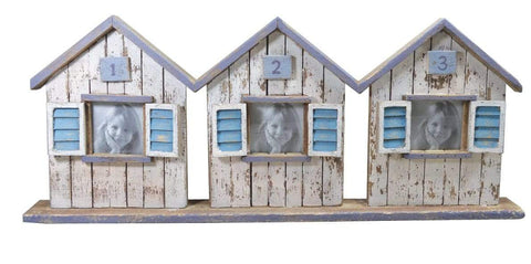 Mollie and Fred Gifts Three In A Row Wooden Beach Hut Photo Frame