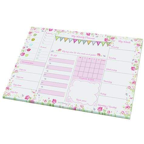 Padblocks Stationery Copy of My Weekly Planner Blue & Green Flowers