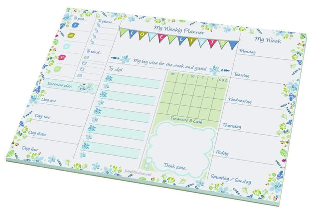 Padblocks Stationery My Weekly Planner Blue Flowers