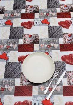 Peggy Wilkins Christmas Decorations Alpine Hearts Wipe Clean Table Cloth
