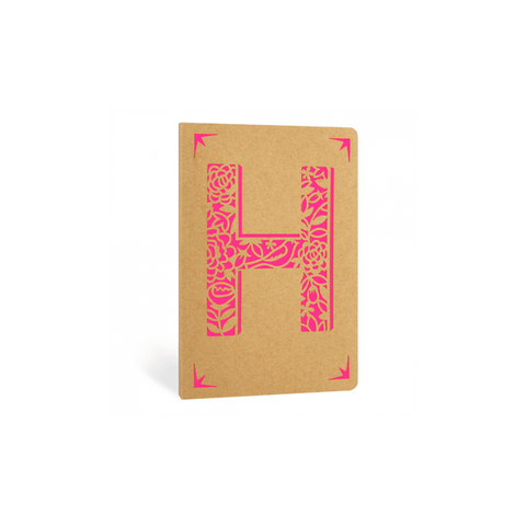 Portico Notebooks H Kraft Monogram Notebook - Choice of letters