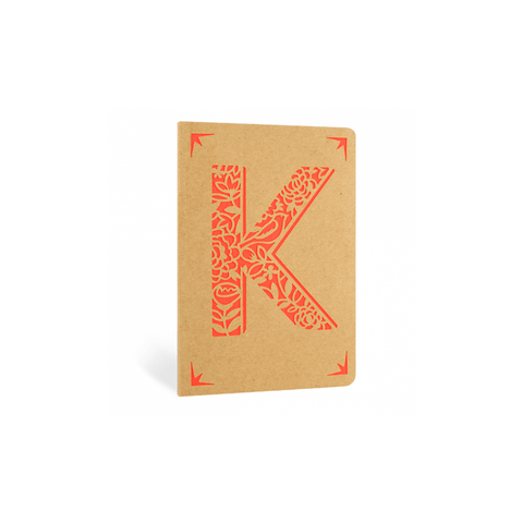 Portico Notebooks K Kraft Monogram Notebook - Choice of letters