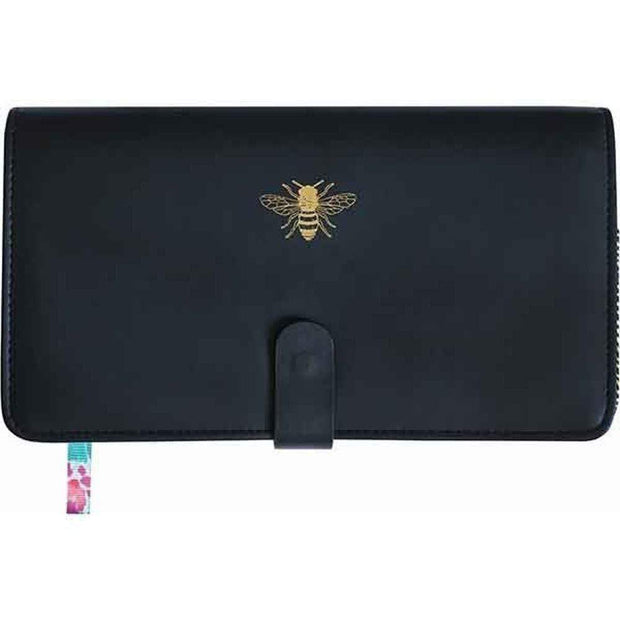Portico Purses & Travel Wallets Black Travel Wallet with Gold Bee Detail