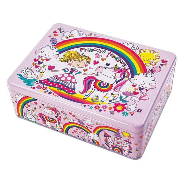 Rachel Ellen Storage Tins, Trinket & keepsake Boxes Rachel Ellen Princess Treasure Unicorn and Rainbow Tin