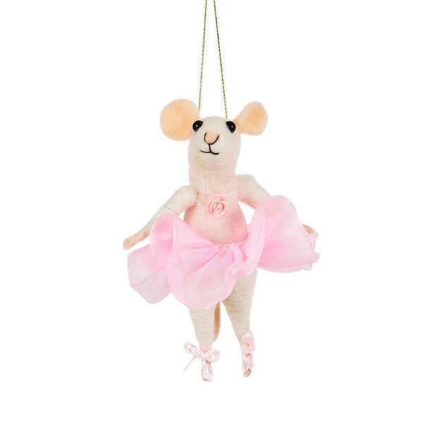 Sass & Belle Christmas Christmas Decorations Felt Ballerina Mouse - Hanging Christmas Decoration