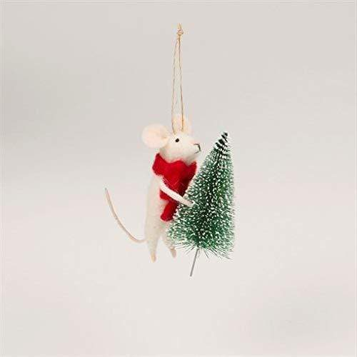 Sass & Belle Christmas Christmas Decorations Felt Mouse with Christmas Tree Hanging Decoration