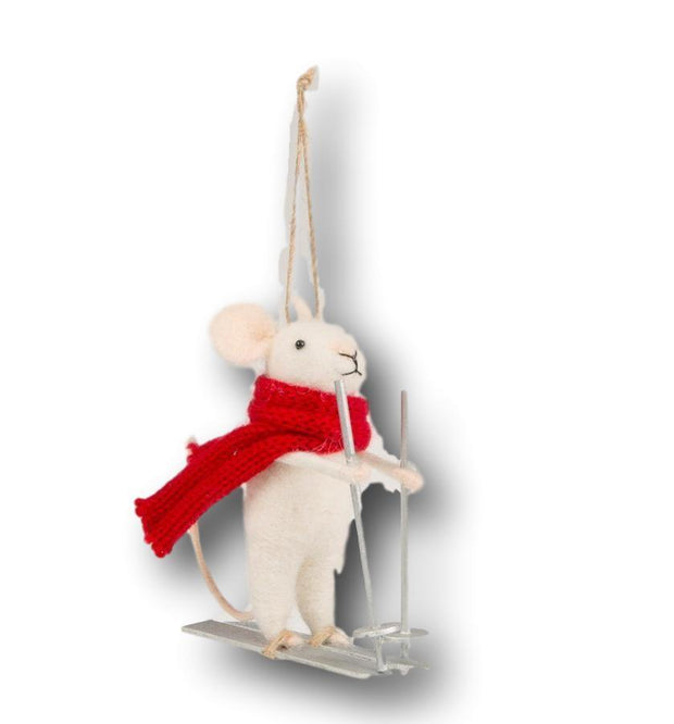 Sass & Belle Christmas Christmas Decorations Felt Skiing Mouse Christmas Decoration