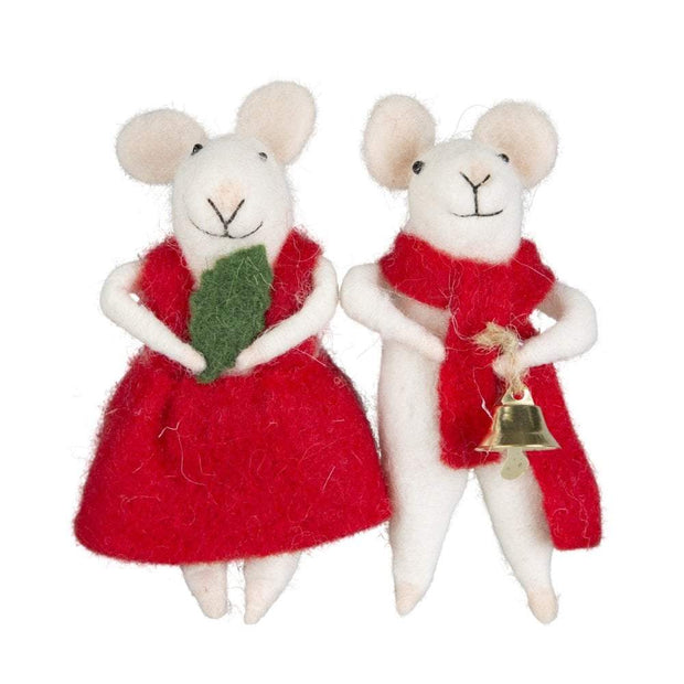 Sass & Belle Christmas Christmas Decorations Pair of Felt Mice Decorations with Jingle Bell