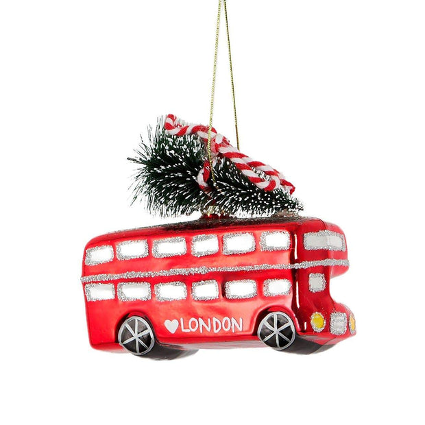 Sass & Belle Christmas Christmas Decorations Retro London Bus Hanging Christmas Tree Decoration