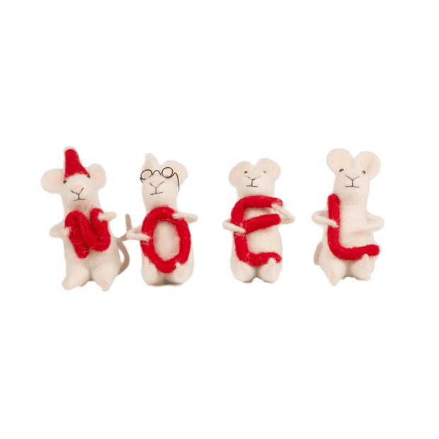 Sass & Belle Christmas Christmas Decorations Set of 4 Felt Decorative Mice