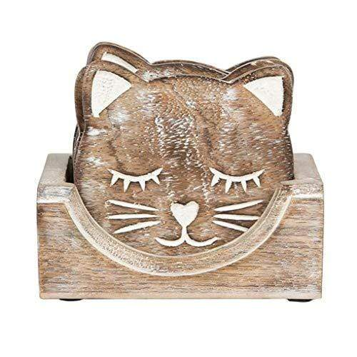 Sass & Belle Coasters & Placemats Wooden Carved Cat Coasters in Holder - Set of 6