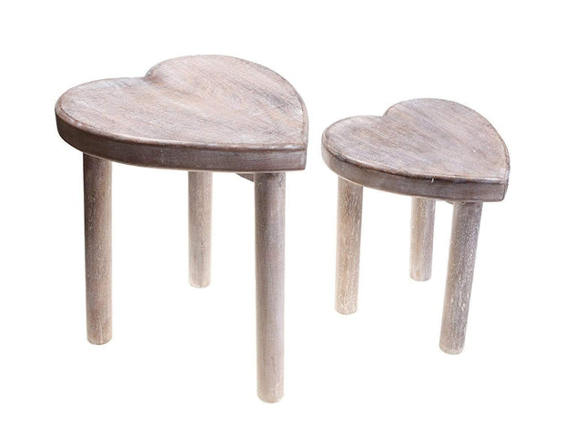Sass & Belle Home accessories Set of 2 Shabby Chic Heart Stools