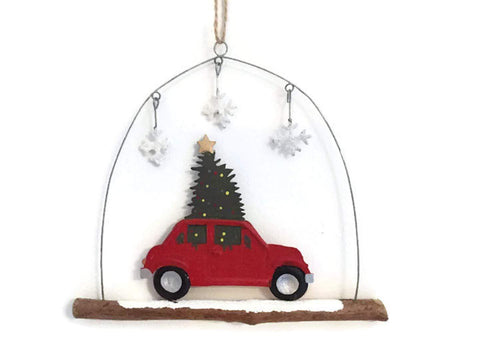 Shoeless Joe Christmas Decorations Festive Car on Driftwood Hanging Christmas Decoration