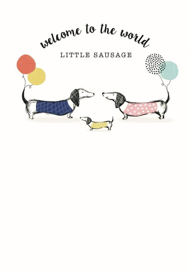 The Artfile Stationary Greetings Cards Welcome To The World Little Sausage New Baby Card