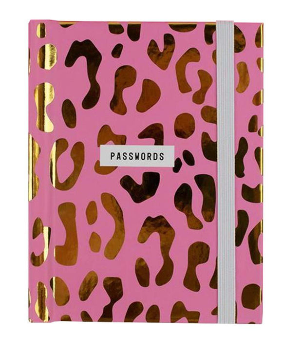 The Bright Side Notebooks Pink and Gold Leopard Print Passwords Book
