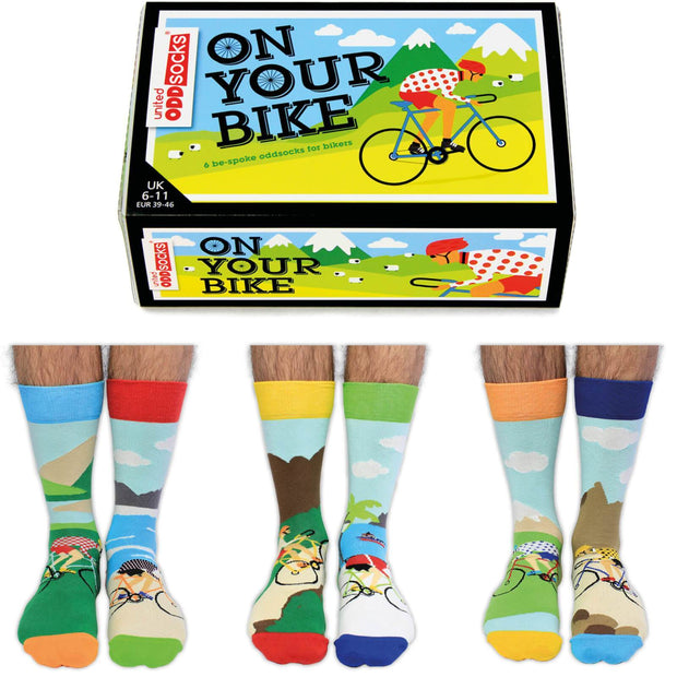 United Odd Socks Socks Novelty Mens Bike Socks Presented In Gift Box