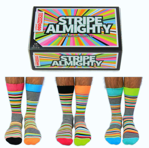 United Odd Socks Socks Set of 6 Men's Novelty Socks - Stripe Almighty
