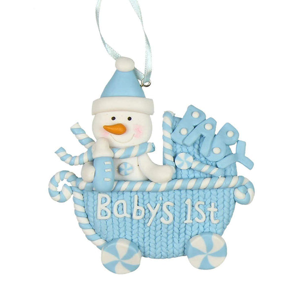 Widdop Gifts Christmas Decorations Boys Baby's 1st Hanging Pram Decoration