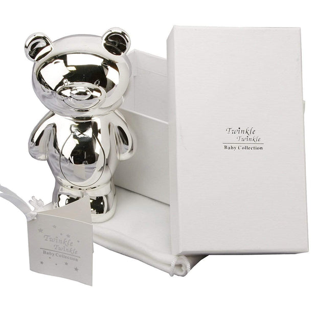 Widdop Gifts Money Boxes Silver Plated Teddy Money Box