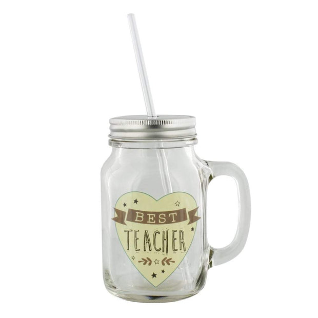 Widdop Gifts Mugs & Drinkware Best Teacher Mason Jar with Straw