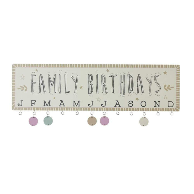 Widdop Gifts Wall Signs & Plaques 'Family Birthdays' Plaque With Date Discs