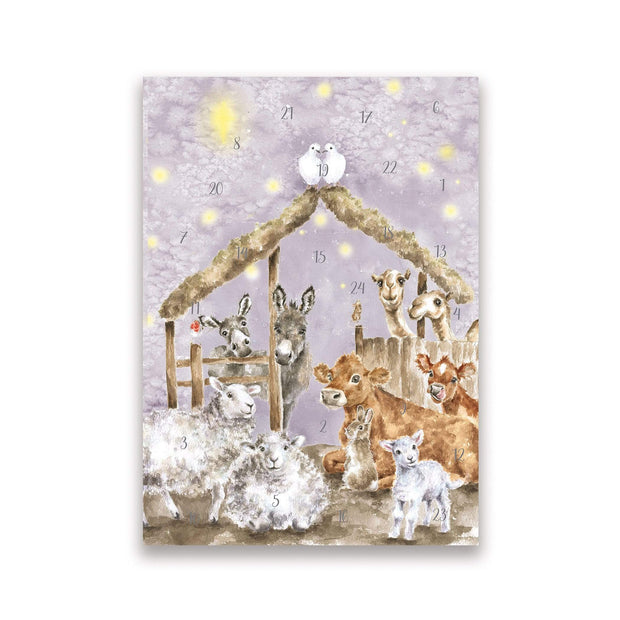 Wrendale Designs Advent card Away In A Manger Advent Christmas Card