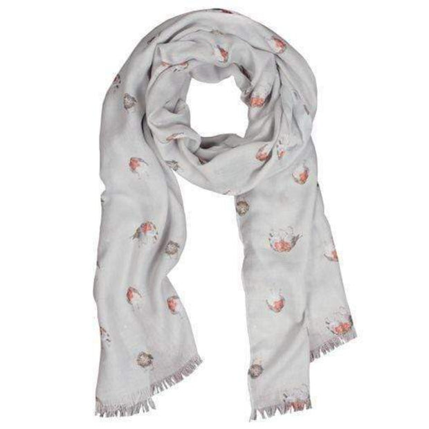 Wrendale Designs Scarves 'Jolly Robin' Scarf with Gift Bag