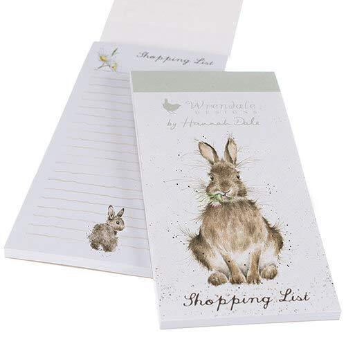 Wrendale Designs Magnetic Notepads Hare Illustrated Magnetic Shopping Pad