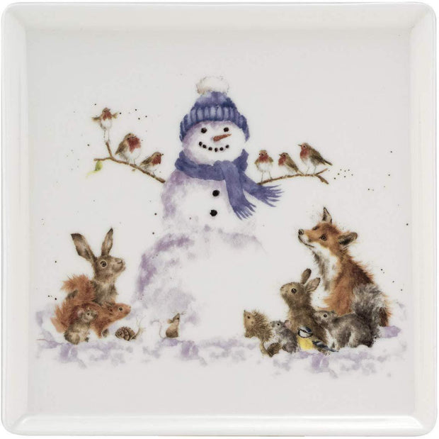 Wrendale Designs Plates, Christmas Decorations Square Ceramic Plate with Snowman Design