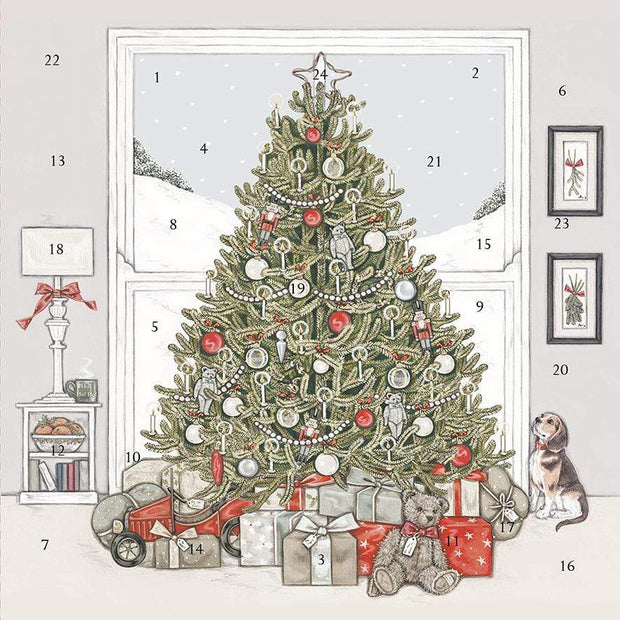 Wrendale Designs Advent Calendar Sally Swannell Under The Christmas Tree Large Advent Christmas Card