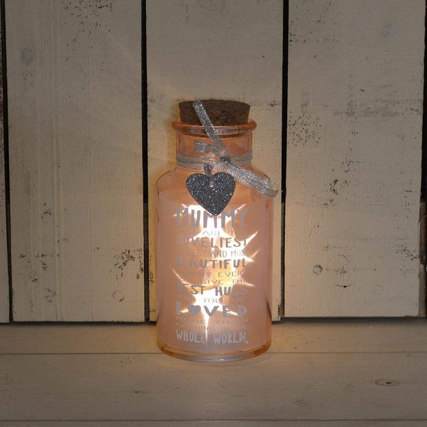Xpressions Glassware Light Up Jar for Mummy - Messages of Love