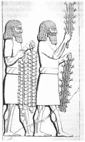 Slab from Corridor LI in the Southwest Palace of Sennacherib, Nineveh (702-692 B.C.). (from A.A. Layard, 1853. Discoveries in the Ruins of Nineveh and Babylon. London, 339 pp.).