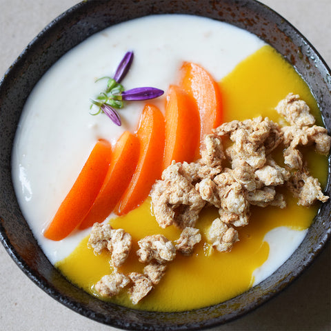insect protein cereal with apricot and yoghurt