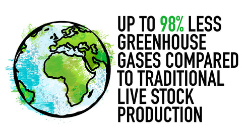 up to 98% less greenhouse gases compared to meat