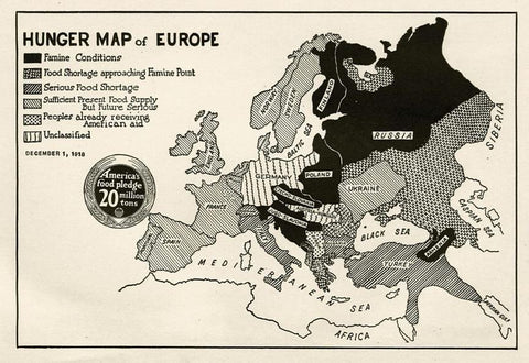 Hunger map of Europe 1918