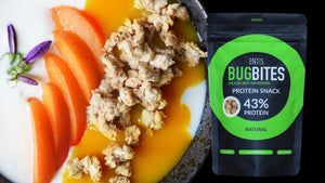 Bugbites protein snack package and a serving suggestion with apricot
