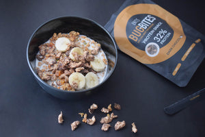 a bowl of bugbites insect food product with bananas and oat milk