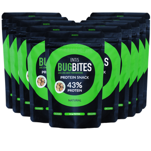 Entis Bugbites Natural oat snack with cricket flour 10 pack. Edible insects are here tastier than ever!
