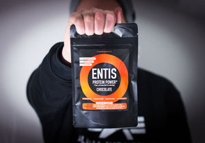 Entis protein powder trial bag in hand