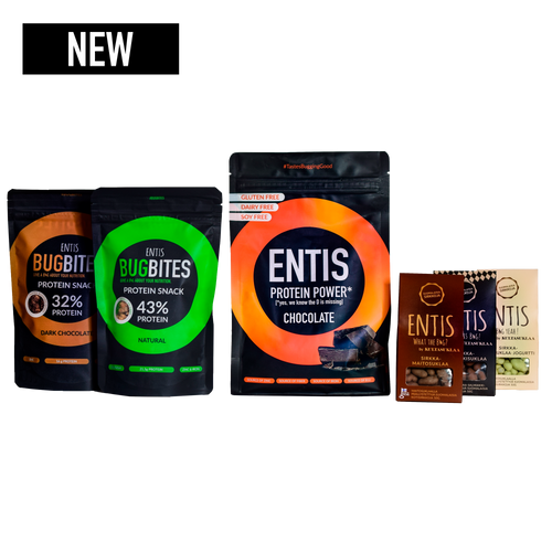 Entis Megapack of edible insects with protein powder, cricket snacks and chocolate