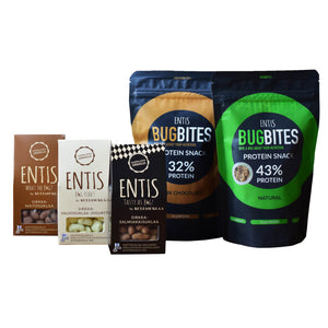 Entis Family pack contains one of each Entis products. Bugbites Natural, Bugbites dark chocolate, cricket chocolates.